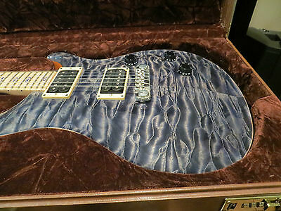 Prs Private Stock Custom 24 Faded Indigo Quilt Lapis Birds Maple Fret and Neck