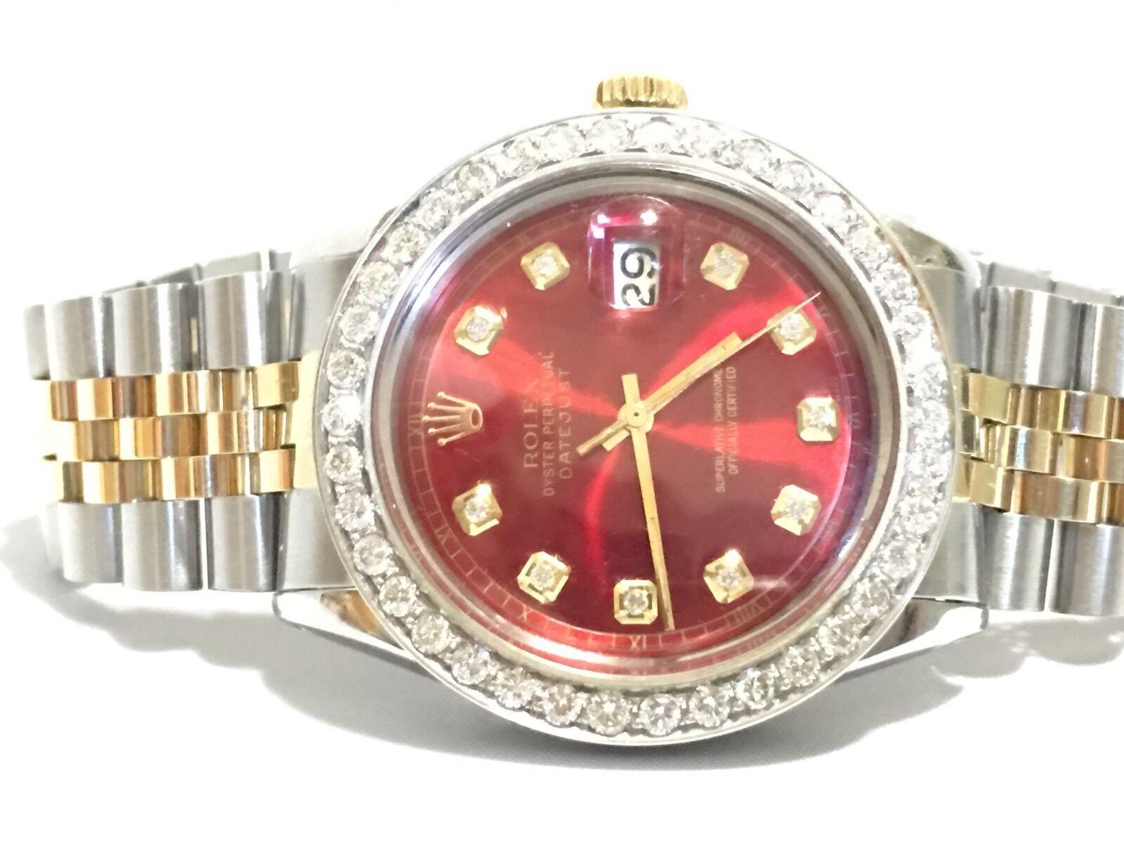 Rolex mens two tone diamond dial diamond Bezel 36mm Datejust automatic watch