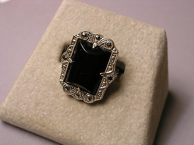 Art Deco Marcasite Ring - Vintage Art Deco Rectangular Sterling Silver Onyx & Marcasite Ring - Size 6