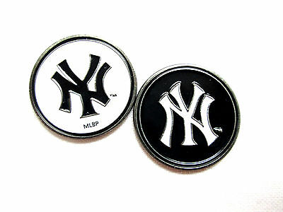 (MLB New York Yankees Golf Ball Marker Enamel Metal Team Logo 2 Sided Hat)