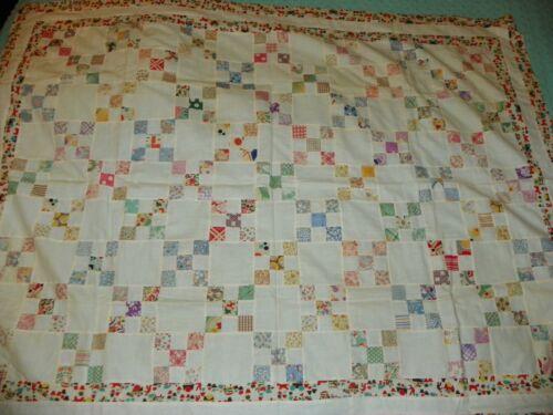 Vintage Nine Patch Feedsack Quilt Top 41 X 54