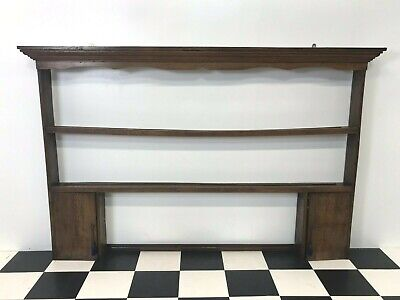 Large antique oak wall hanging kitchen shelf plate rack with cupboards & shelves