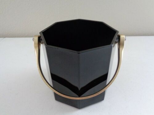 Novoctime Octime ~ BLACK GLASS ICE BUCKET W/ BRASS HANDLE ~ Arcoroc France