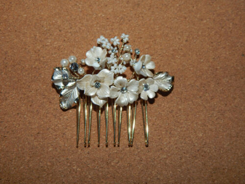 HAIR COMB BRIDE FORMAL BHLDN CREAM WHITE PEARL FABRIC RHINESTONES GOLD NEW
