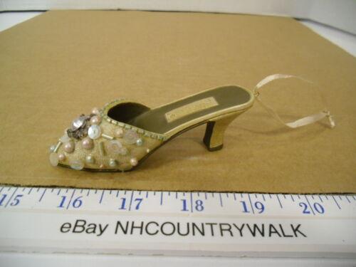 Bejeweled Tan & Brown Heeled Slipper Shoe Christmas Tree Ornament - EUC