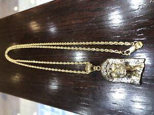 Rope chain and Jesus 10k yellow and white gold