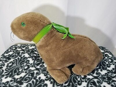 Plush Brown Seal Sea Lion With Green Eyes and Ribbon Vintage Estate Collectible