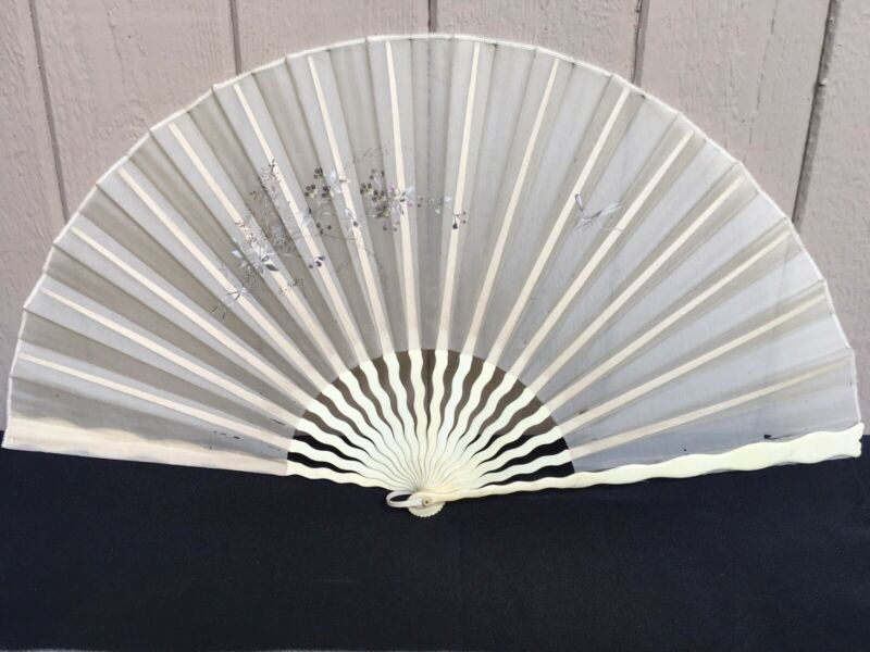 Vintage Hand Painted Fan Artist Signed