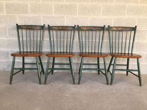 L. HITCHCOCK CLASSIC COUNTRY HARVEST GREEN WINDSOR SIDE CHAIRS - SET OF 4