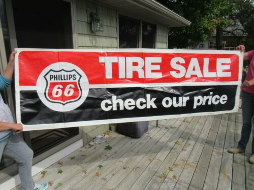 VINTAGE ORIGINAL 1974 PHILLIPS 66 TIRE SALE ADVERTISING BANNER SIGN VINYL