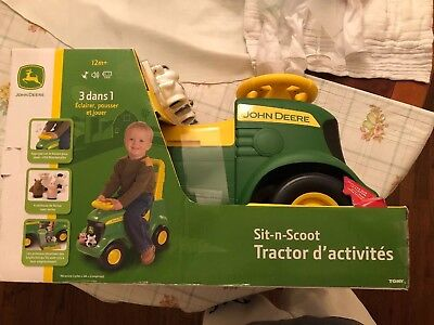 John Deere Sit and Scoot Tractor Tough Traction Tires Ride on Toy Toddler - New