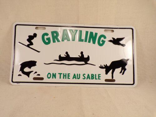 Vintage Grayling MI License Plate Hunting Fishing Canoeing Skiing Souvenir