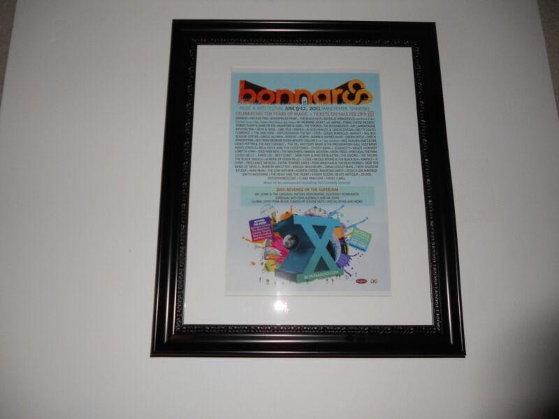 """Large Framed Bonnaroo 2011 Poster, Eminem, Arcade Fire, Black Keys 24"""" by 20"""""""