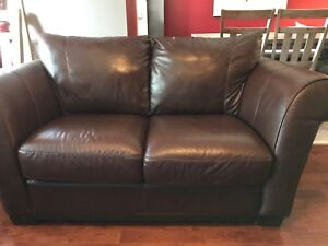 Cindy Crawford Home Genuine Leather Sofa and Love Seat