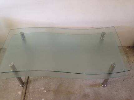 1 2 Storey Glass Wave & Steel Coffee Table Matraville Eastern Suburbs Preview