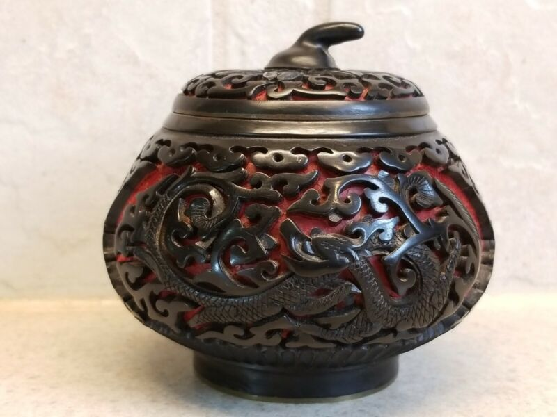 """Vintage Cinnabar Red Lacquer Covered Round Box Blue Enamel Brass 3 1/2"""" Dragons"""