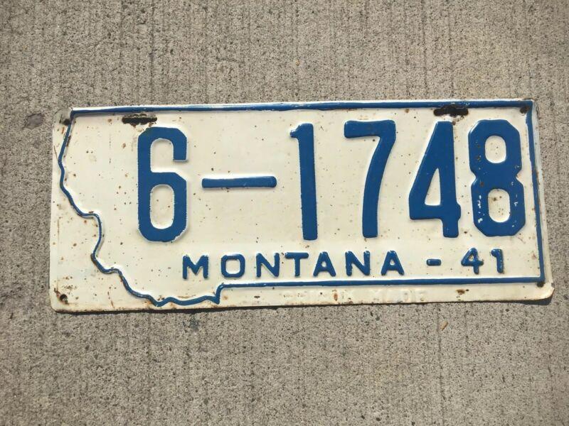 1941 Montana License Plate 6 - 1748 Gallatin County Bozeman PRISON MADE