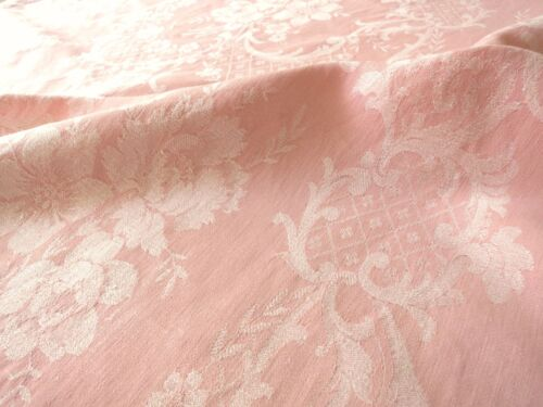 PINK Antique 19thC FRENCH Ticking Cotton Woven Damask LARGE PIECE 65x96 FLOWERS