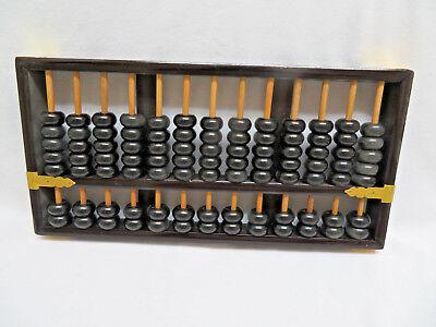 "Vintage  Lotus Flower Brand Wood Abacus, Chinese Calculator 12"""