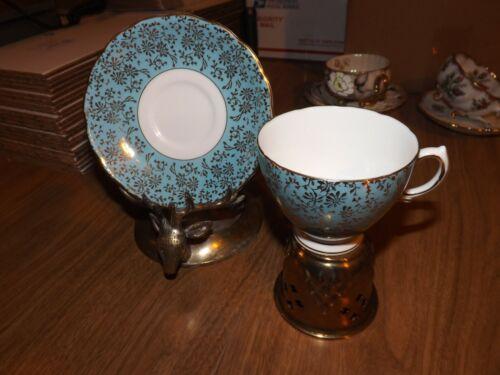 VINTAGE ENGLISH COLCLOUGH FINE BONE CHINA TEA CUP & SAUCER SET - BLUE