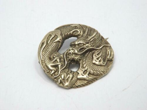 Antique Japan Silver Dragon Brooch, 84 mark, 10.3g
