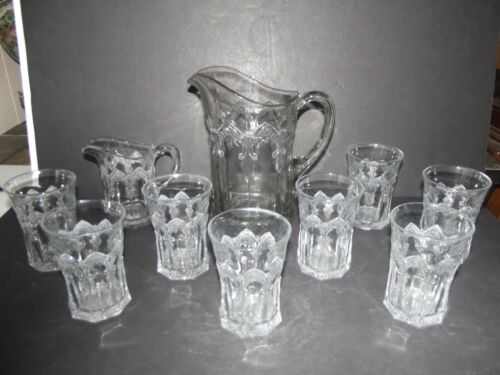 10 pc. Water Pitcher & 8 tumblers creamer EAPG Indiana Glass Gothic Windows 1909