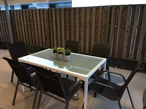 7 piece White Glass / Metal Dining Table and Chairs Banyo Brisbane North East Preview