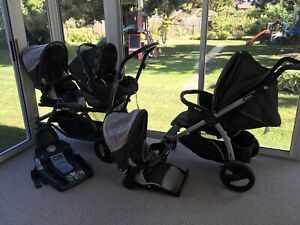 Peg Perego Car seat and base, single stroller, double stroller