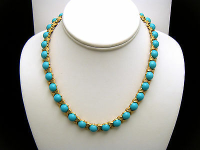 Crown Trifari Vintage Necklace 1960s Turquoise Lucite Cabochons Gold Tone BowTie on Lookza