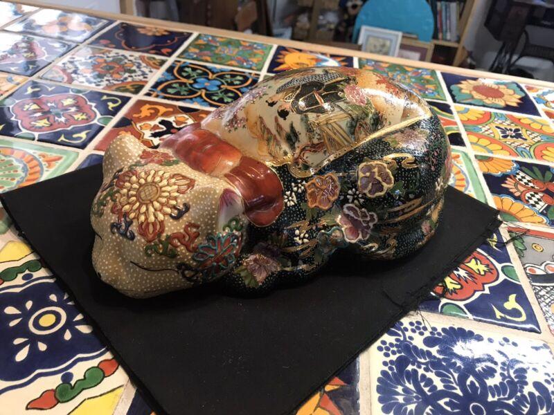 Vintage Satsuma Porcelain Asian Ornate Sleeping Cat Figurine #37