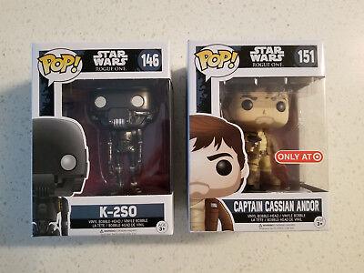 Funko Pop Vinyl Star Wars 146 K 2So   151 Captain Cassian Andor Target Exclusive