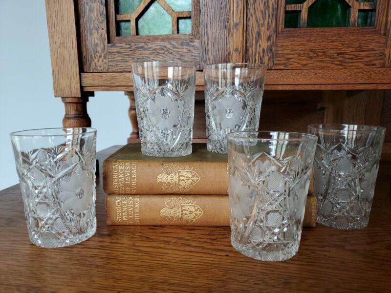 "American Brilliant Cut Crystal Whiskey Old Fashion Tumbler Set of 5 - McCoy, 4"""