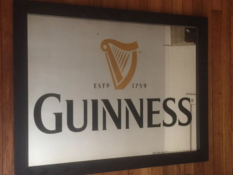 """Guinness Mirrored Bar Sign 35.5"""" X 27.5"""" Very Large Mirror Steel Hang Wire Back"""