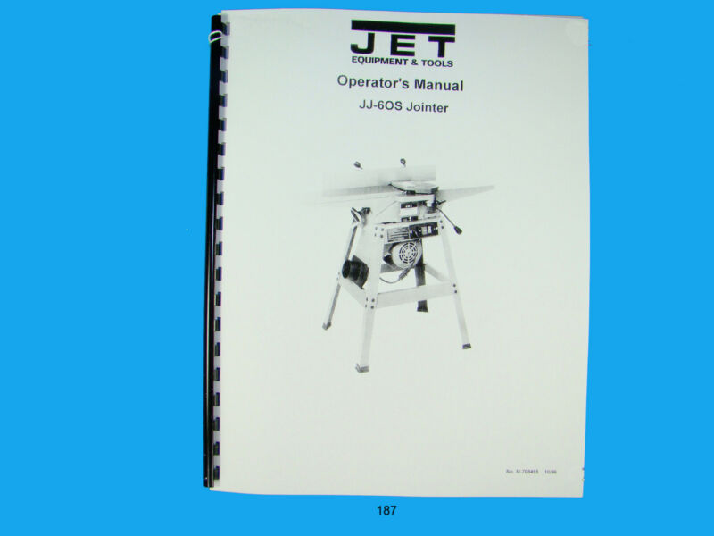 Jet   JJ-60S Jointer Operators Manual *187