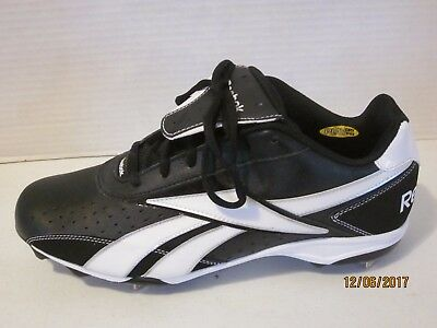 NEW Reebok Mens Baseball Cleats black white size 12 12.5 lace up 20ec3c22f