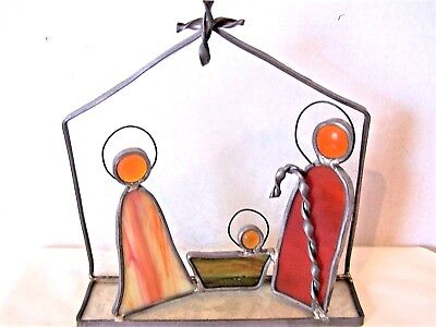 Stained Glass Nativity leaded three figure Christmas Joseph Baby Jesus](Stained Glass Nativity)
