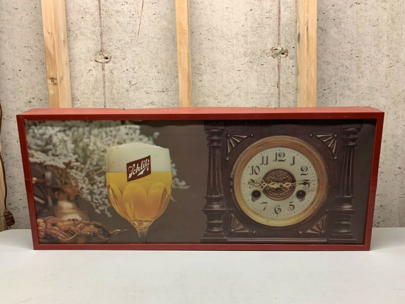 "Vintage Schlitz Beer Lighted Sign/Clock (35"" X 15"")"