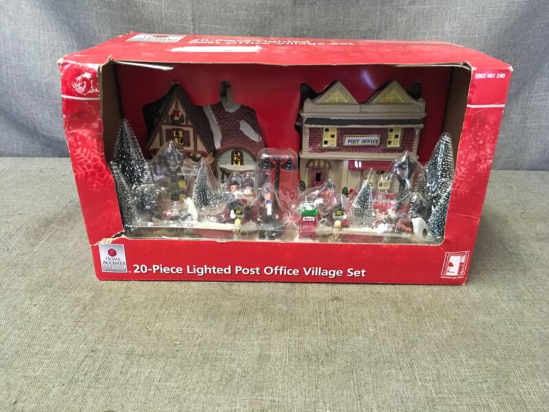 home accents holiday 1002 461 240 20-piece lighted post office village set
