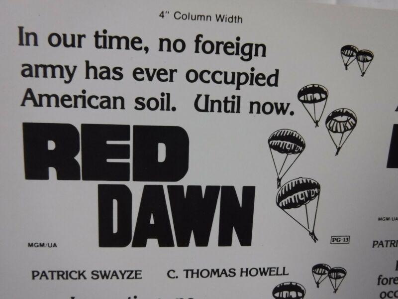 RED DAWN Movie Mini Ad Sheet Vintage Advertising Poster Film Patrick Swayze
