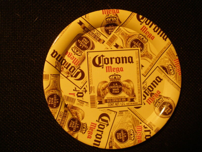 "CORONA MEGA BEER ""LABELS ALL OVER"" 4-1/4"" SMALL TIP TRAY - NEW"