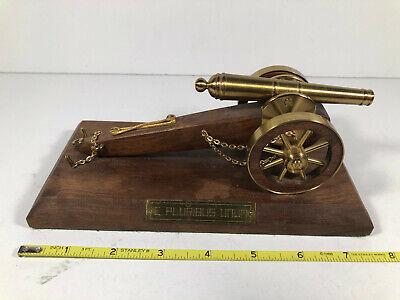 Revolutionary War Cannon Replica Brass & Wood On Base  E Pluribus Unum  7 3/4
