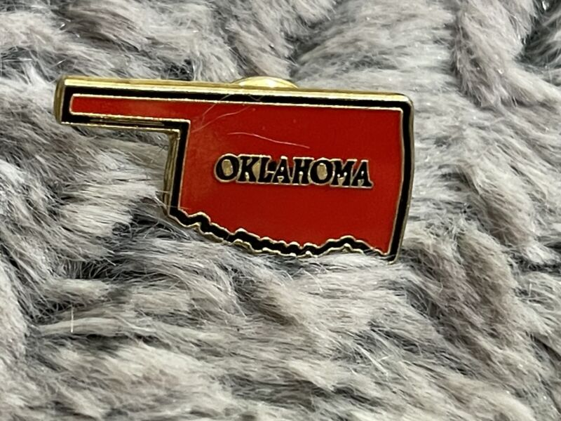"""Vintage Oklahoma shape red in color jacket or hat pin """"Oklahoma"""""""