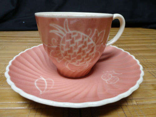 SUSIE COOPER Vintage Fruit and Leaf Design Demitasse Cup and Saucer