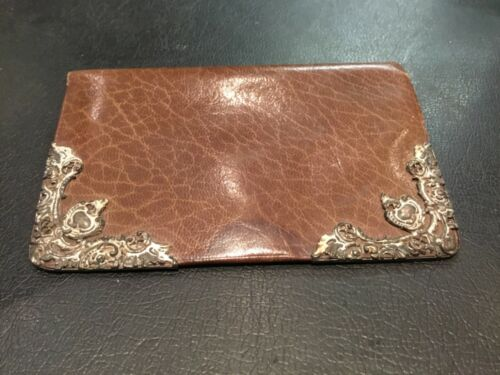 ANTIQUE BROWN LEATHER & STERLING SILVER VICTORIAN EDWARDIAN WALLET NO RESERVE