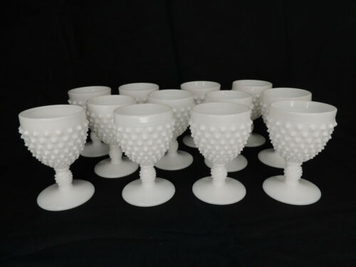 "Lot of 12 Vintage Fenton White Milk Glass Wine Glasses / Cordials 3 7/8"""
