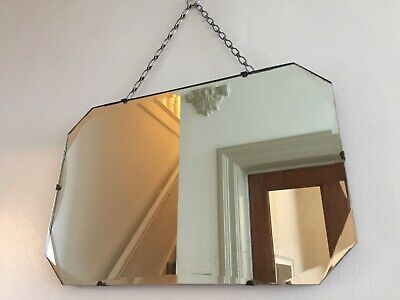 Vintage Frameless Wall Mirror Bevelled Lightly Foxed Original Chain 45x30cm m116