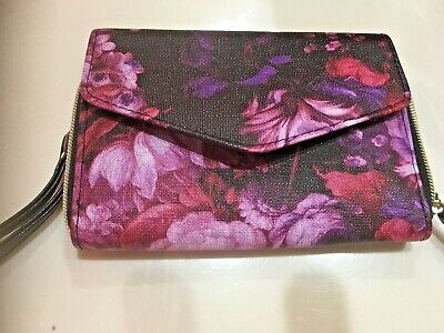 Floral Womens Wallet (Womens Wallet Zip Around Purple Floral Card Holder and Wristlet)