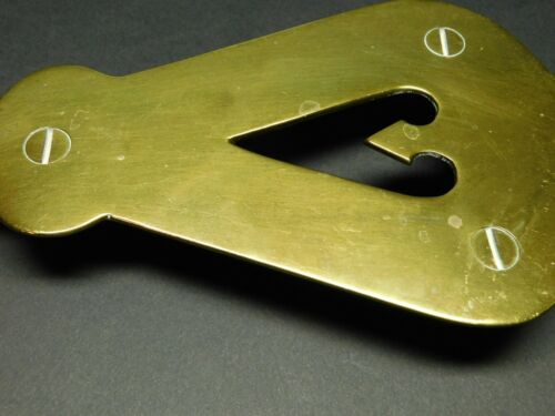 Antique Vintage Polished Screw Footed Brass Sad or Flat Iron Trivet - Heart