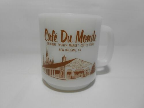 Vintage Cafe Du Monde New Orleans Glasbake Milk Glass Coffee Mug Cup FREE SHIP