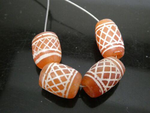 Indo-Tibetan Style Vintage Etched Carnelian Afghanistan Agate Gemstone 4 Beads